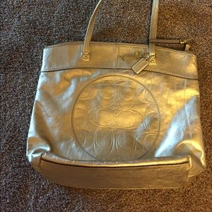 Gold Leather Coach Tote.