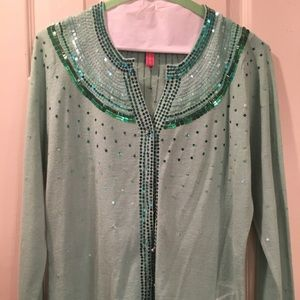 Green Sequined Charlotte Sweater