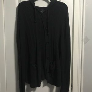 Hooded button down sweater