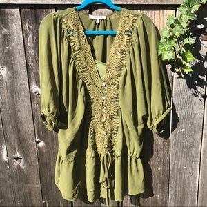 Olive Green Peasant Blouse w/tank