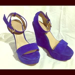 Blue suede wedges - So Comfy!