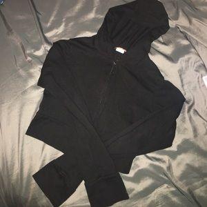 Short black zip up hoodie