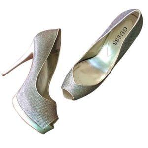 Guess Peep-Toe Metallic Platform Heels size 8