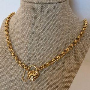 Vintage Heart Locket Perfume Pendant Gold Necklace