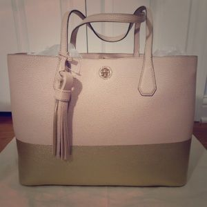 Like New Tory Burch Colorblock Pebbled Tote