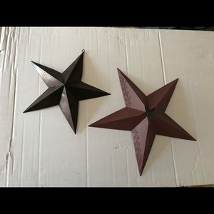 Set of two metal stars brown and red