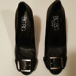BCBG Black Heels With Silver Buckle