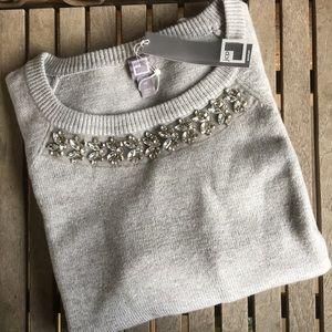 NWT! JCP Grey Rhinestone Embellished Sweater