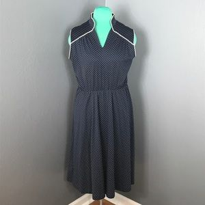 Vintage housewife dress blue and white polkadot