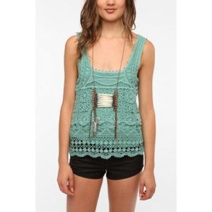 Pins & Needles Green Lace Crochet Tank Top