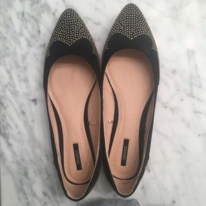 Forever 21 Gold studded Black Flats