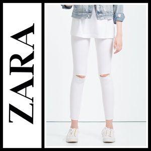 "Zara ""I am Denim"" distressed skinny jeggings"