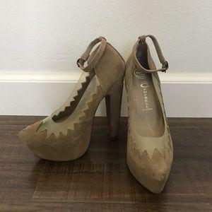 Jeffrey Campbell platform taupe suede heels