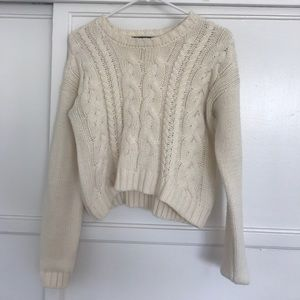 cream cropped knitted sweater