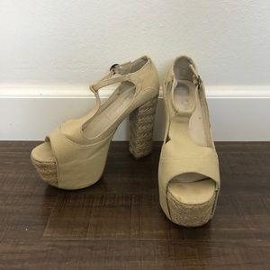 Jeffrey Campbell canvas espadrilles platform heels