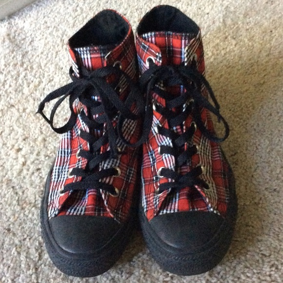 74ded2bf217 Converse Shoes - Plaid Converse High Tops.