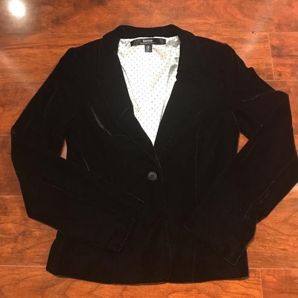 Kensie Womens Velvet One Button Blazer Jacket