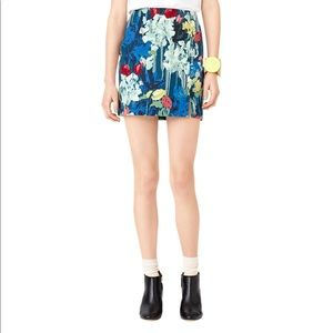 Kate Spade Saturday Side Slit Skirt Painted Floral