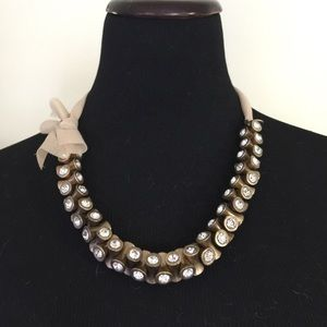 J. Crew crystal necklace with ribbon