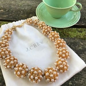 J. Crew RARE pearl orb cluster statement necklace
