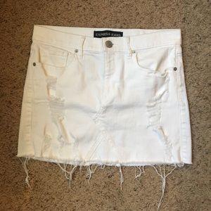 White tattered denim skirt