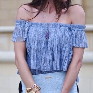 ZARA blue/grey cropped lace off the shoulder top M