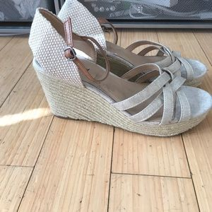 Rope wedges. Small ankle strap and open toe