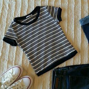 Zara Trafaluc Blue and White Striped Crop Top