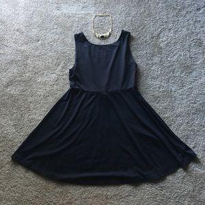 H&M black skater scuba v back dress
