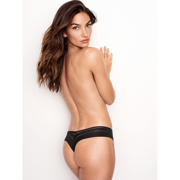 a17d0b9424d58 NO SHOW NEW! Mesh-Back Thong Panty BLACK SMALL NWT