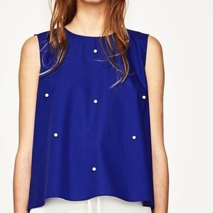 Zara frilled blouse with pearl details