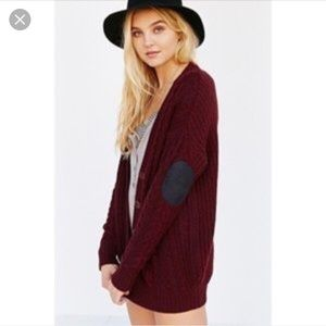 Urban Outfitters, Olive & Oak Elbow-Patch Cardigan