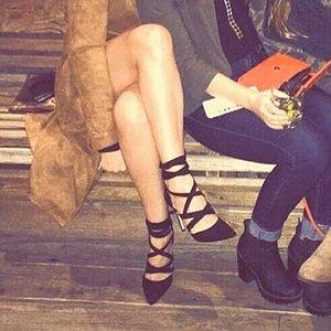Black Suede Strappy Stiletto Heels