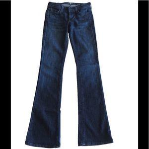 Size 23 7FAM Dark Wash Jeans with Black Gems