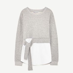 Zara grey mark knotted sweatshirt