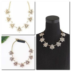 J.CREW Gold Crystal Snowflake Statement Necklace