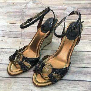 🎒Sz 10 J. Crew Strappy Leather High Heel Wedge