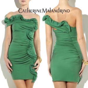 Catherine Malandrino sandwashed silk ruffle dress