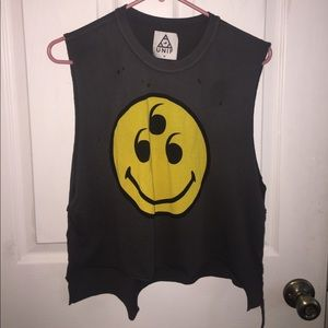[UNIF] Worn, distressed Smiley 666 muscle tank