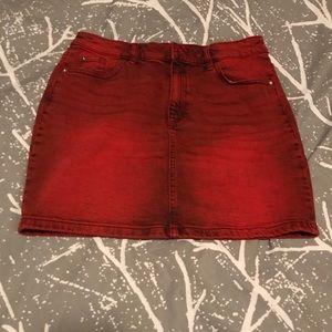 H&M red denim skirt