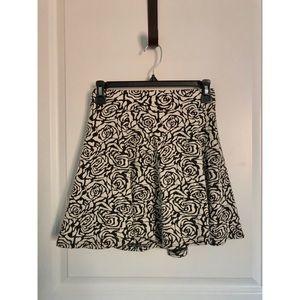 Black And White Floral Print Skater Skirt