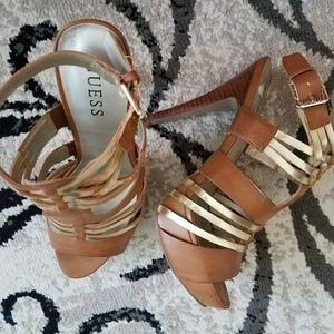 Guess Brown & gold strappy platform heels 8