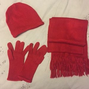 💋Red winter scarf, hat and gloves set 💋