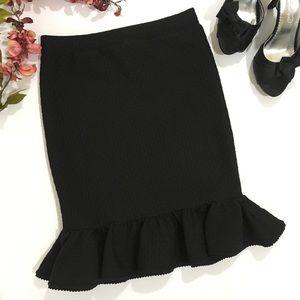 ANTHROPOLOGIE Ruffled Ponte Pencil Skirt