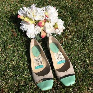 Beautiful Tan and Mint Green Calvin Klein Flats