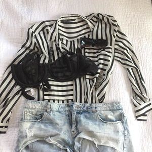 Zara oversized striped button down (size M)