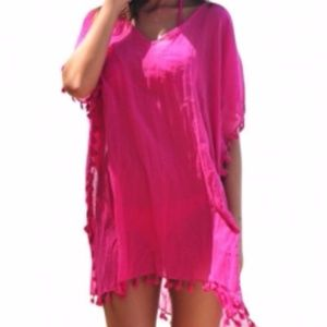 Other - Pom Pom Tassel Hem Gauze Cover up
