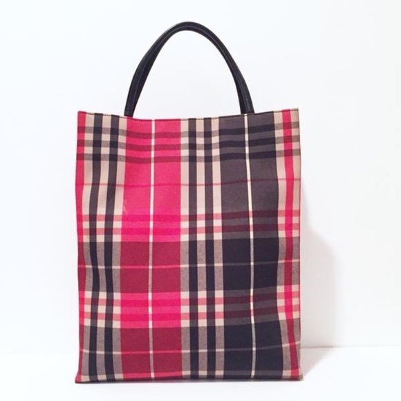 Burberry Handbags - Burberry red fabric nova check tote bag 035bec7f949a4