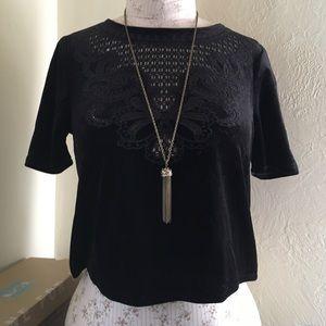 H&M cropped black velvet top