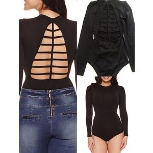 Black open back bodysuit small